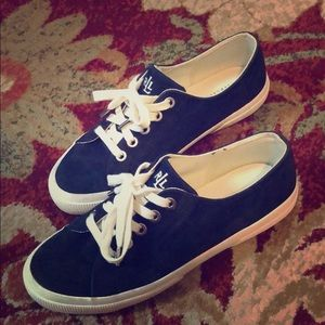 Navy suede Ralph Lauren kicks
